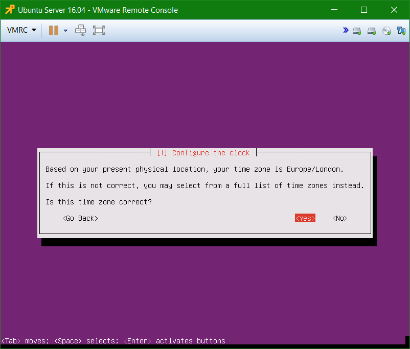 domalab.com Install Ubuntu Server VMware setup clock