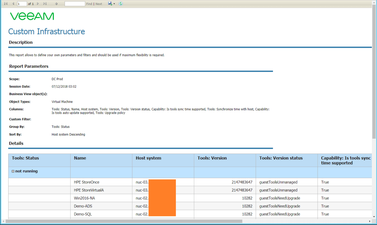 domalab.com VMware Tools Report veeam one report