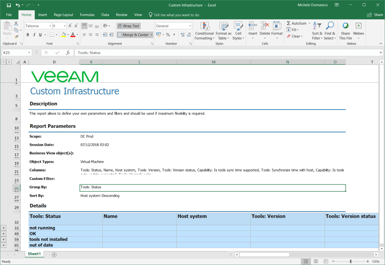 domalab.com VMware Tools Report veeam one save as excel