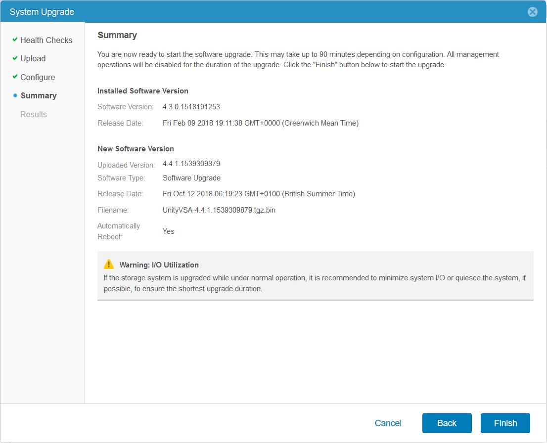 domalab.com Upgrade Dell EMC Unity upgrade summary