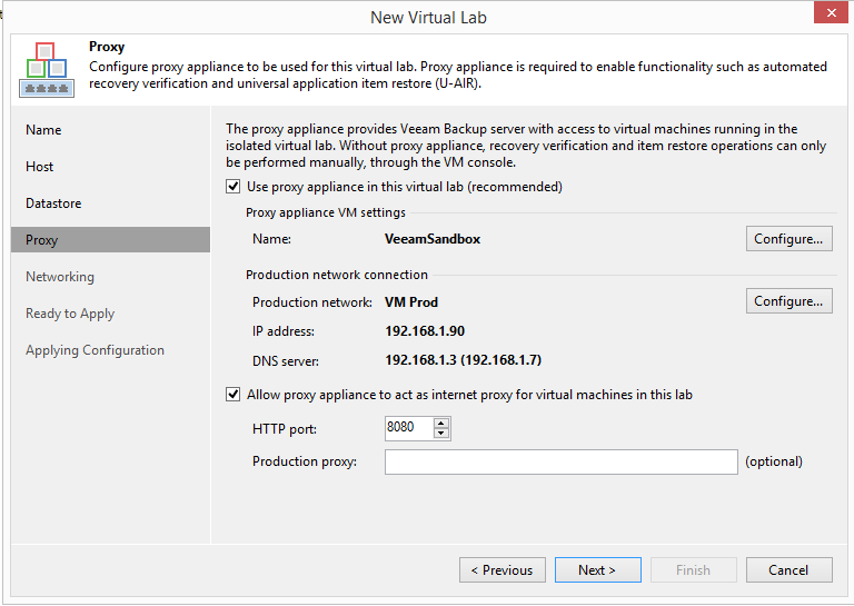 domalab.com Veeam Datalabs virtual lab proxy web