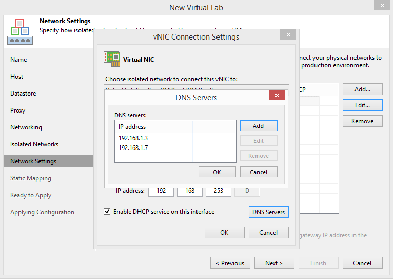 domalab.com Veeam Datalabs virtual lab DNS settings