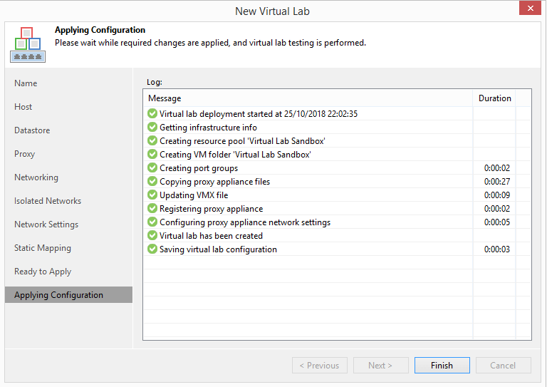 domalab.com Veeam Datalabs virtual lab configuration complete