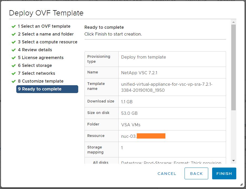 domalab.com Deploy NetApp VSC deployment summary