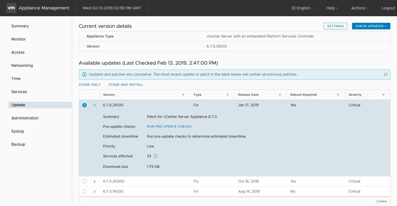 domalab.com VMware VCSA update latest cumulative patches