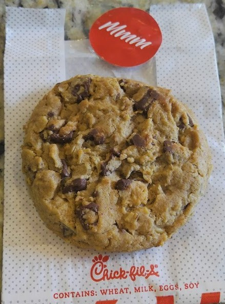 Chocolat chip cookie perfection from Chic-fil-a. Their chocolate chunk cookie.