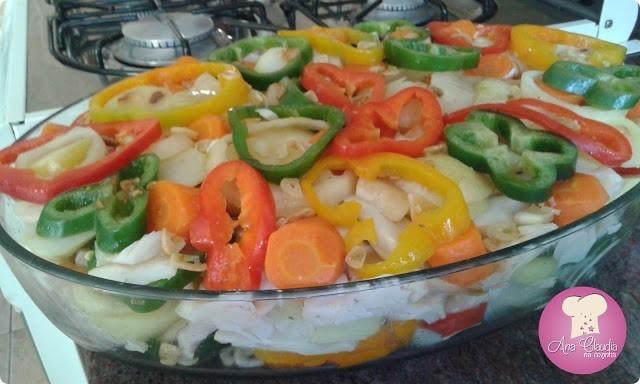bacalhau com legumes e azeite