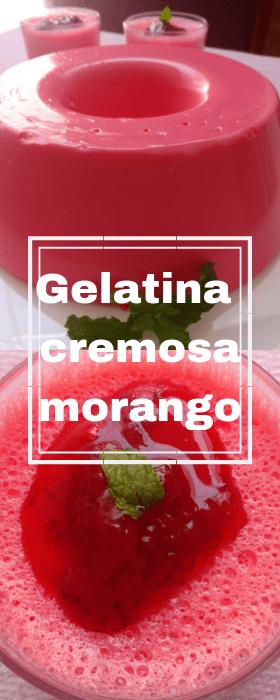 gelatina cremosa de morango