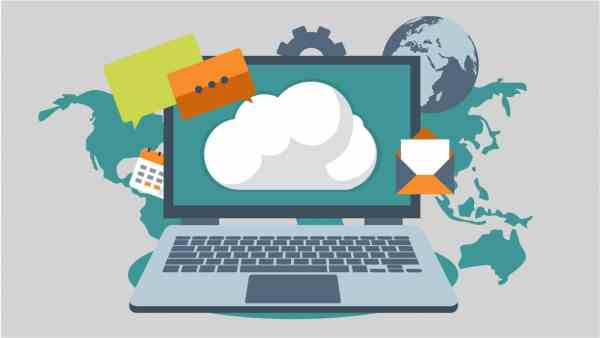 Laptop with the digital Cloud connecting the world