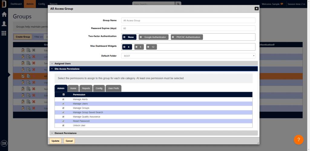 DX 8 Groups Edit Screenshot
