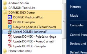 Izgled programske grupe nakon instalacije, u sustavu Windows 7