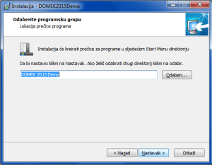 Instalacija sustava - definiranje naziva programske grupe