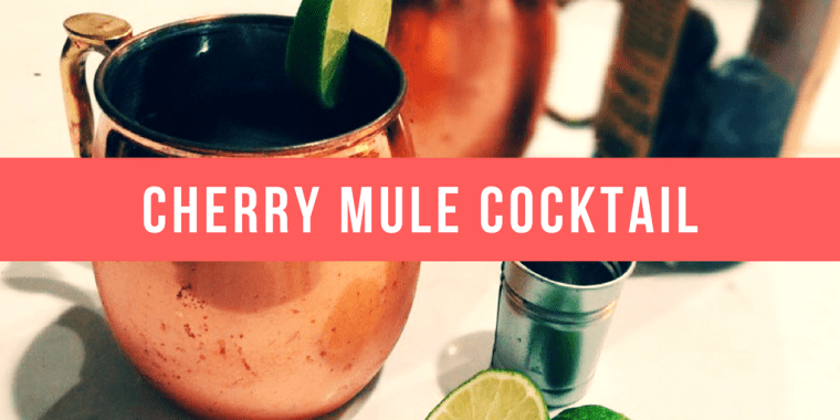 Cherry Mule Cocktail: home-made cherry-infused vodka, ginger beer, & lime