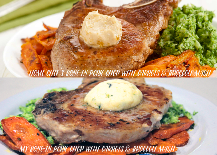 Home Chef Bone-In Pork Chop with Roasted Carrots and Broccoli Mash