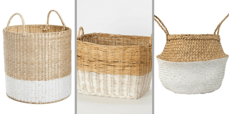 DIY Color Blocked Basket Storage