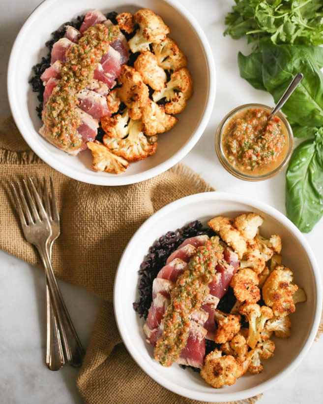 seared-ahi-bowls-with-roasted-cauliflower-and-red-chimichurri