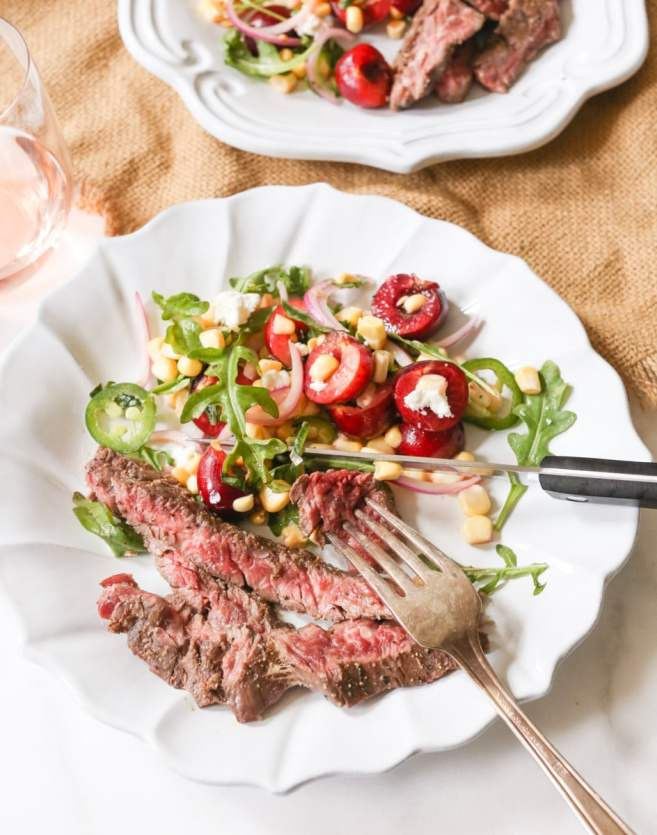 Marinated-Skirt-Steak-with-Corn-and-Sweet-Cherry-Salad-6