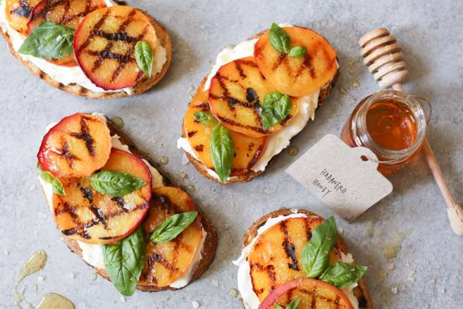 Grilled-Peach-Tartines-with-Burrata-Basil-Honey-6