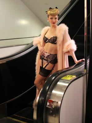 Model wears Dita Von Tees lingerie for Bloomingdales launch