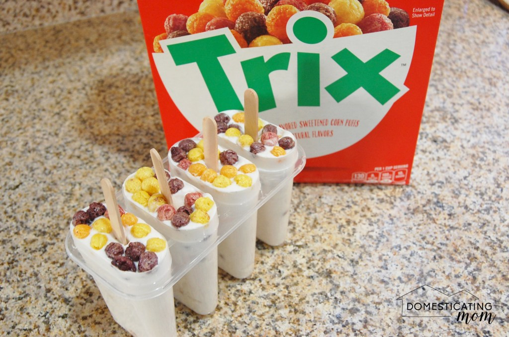 Milk and Cereal Popsicles with Trix