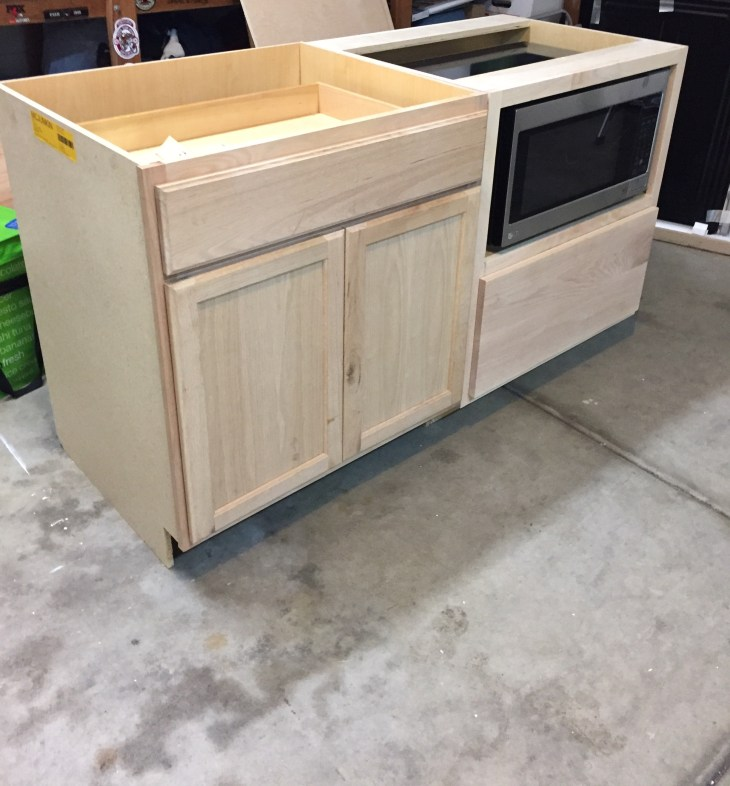 kitchen island from stock cabinets kitchen island make it yourself save big domestic 21792