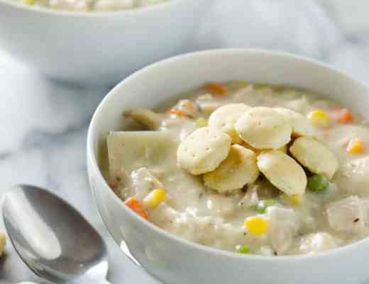 Chicken Pot Pie Soup -This delicious chicken pot pie soup is everything you love in the pie, served now in a creamy soup form. www.domesticdee.com