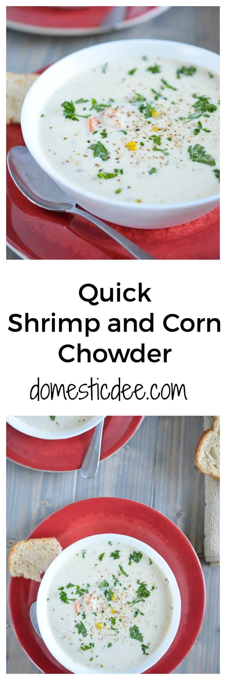 Quick Shrimp & Corn Chowder-This creamy shrimp and corn chowder dish will become your favorite meal of all time. It's so so easy to make and simply delicious. I guarantee this will be added to your family's weekly meal plan.