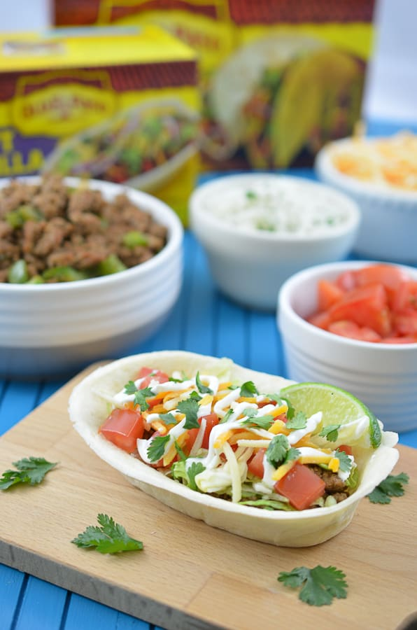 Turkey Taco Boats-Spice up your next Cinco De Mayo with these delicious Turkey Taco Bowls. Flavorful, ground turkey combines perfectly with an edible Old El Paso Flour Tortilla Taco Boat.Spice up yournext Cinco De Mayo up a notch with thesedelicious Turkey Rice Taco Bowls. Flavorful, ground turkeycombines perfectly with homemade cilantro lime rice in an edible Old El Paso Flour Tortilla Taco Boat.