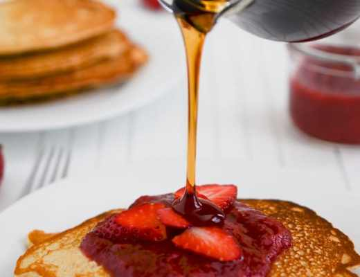 Whole Wheat Pancakes with Strawberry Vanilla Compote