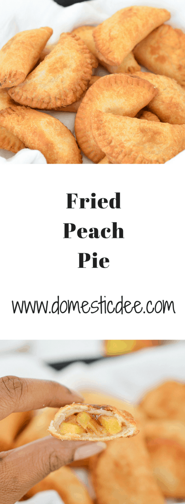 Fried Peach Pies-  These mini fried peach pies are crispy, flaky and delicious.They are filled with a cinnamon peach filling then fried to perfection. domesticdee.com
