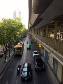 Bangkok transit, with the pedestrian overpass system just under the MRT