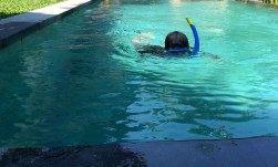 Cian's snorkelling lessons, practicing for Amed