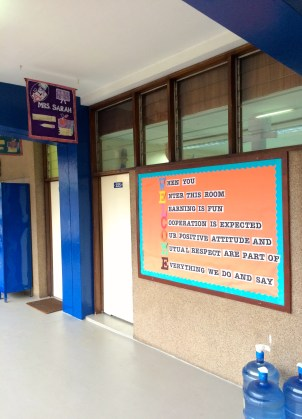 Sarah's classroom, with a wholesome lesson even before you walk in
