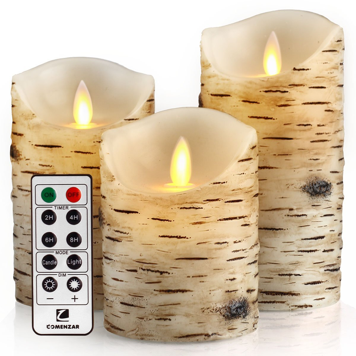 Flameless Flickering Birch Candles With Remote Timer Set