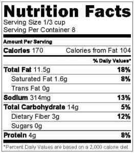 Hummus Nutrition Label