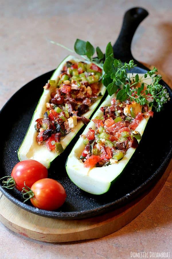 Mediterranean Style Stuffed Zucchini