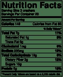 cranberry hazlenut cracker nutrition info