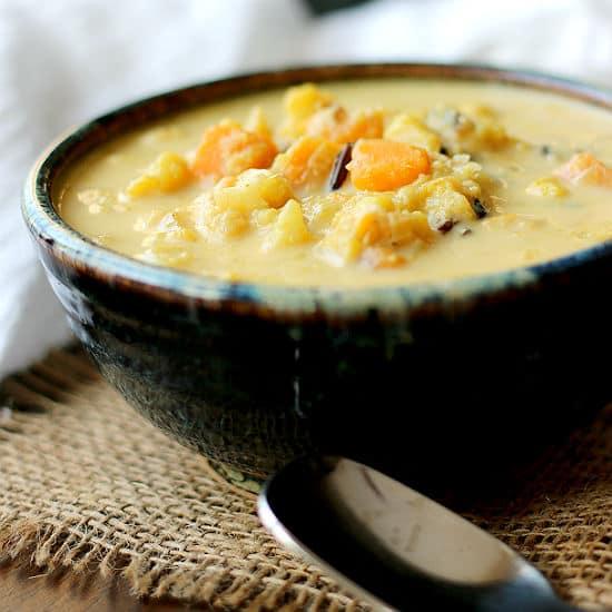 Curried Cauliflower Soup with Sweet Potato