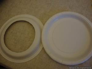 first, cut the centre out of one of your plates