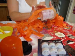 stick tissue paper to gluey jar
