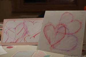 valentines card heart rubbings