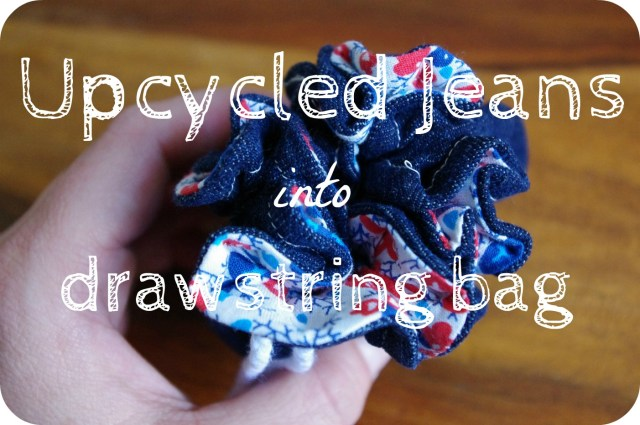 upcycled jeans into drawstring bag