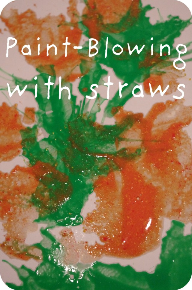 paint blowing with Straws