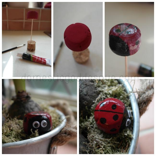 ladybird cork magnet craft