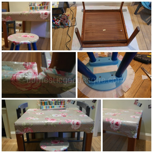 recovering an old table and stool for children