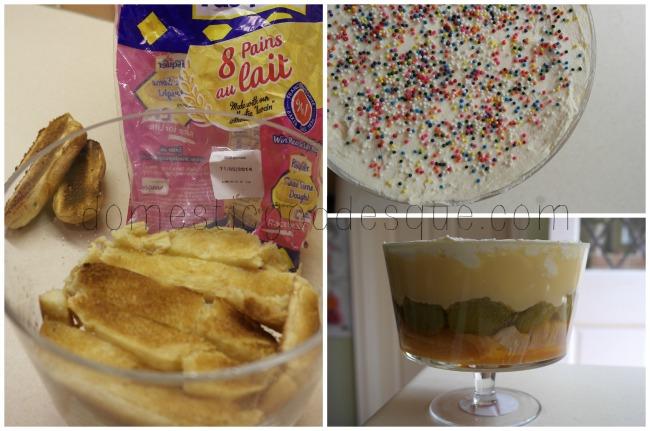 Pain Au Lait, Orange and Rhubarb trifle