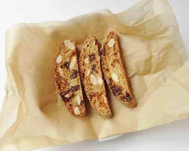 ginger, chocolate & almond biscotti