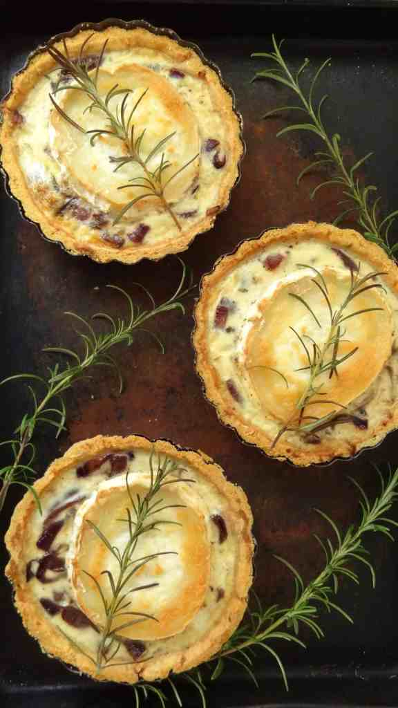 caramelised red onion goats cheese tartlets