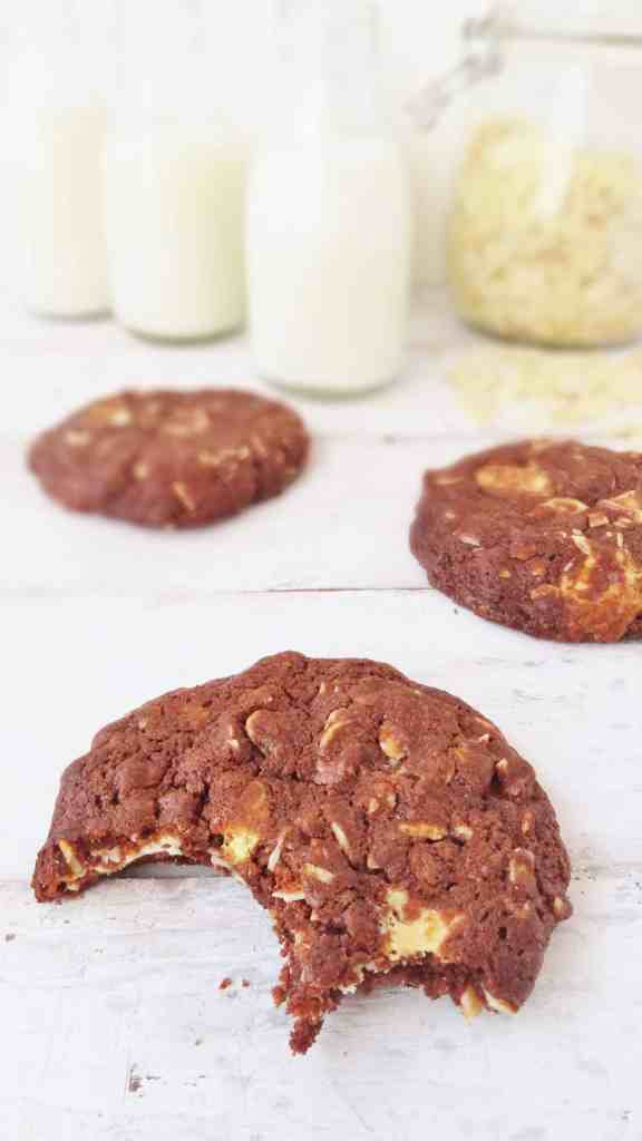 double chocolate almond flavoured cookies