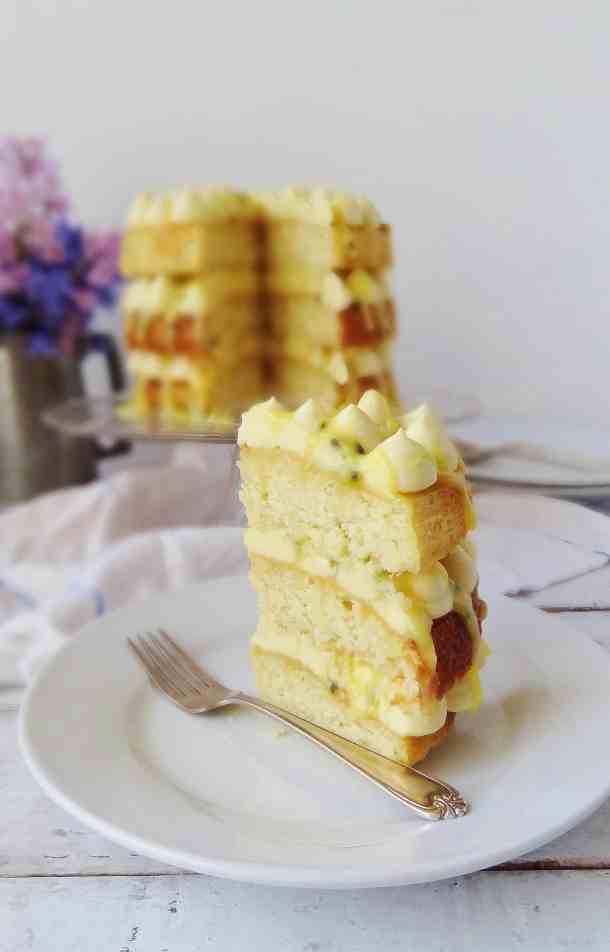 Passion fruit, coconut & white chocolate cake